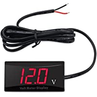 YGL Voltímetro Digital de Coche, Voltímetro Digital DC 12V LED a Prueba de Agua para Motocicleta Coche(Rojo)