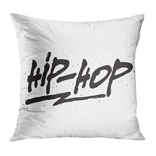 Fundas para Almohada Black Rap Hip Hop Ink Hand Lettering Modern Brush Calligraphy Handwritten Phrase Blue Text Word Decorative Pillow Case Home Decor Square 18x18 Inches Pillowcase