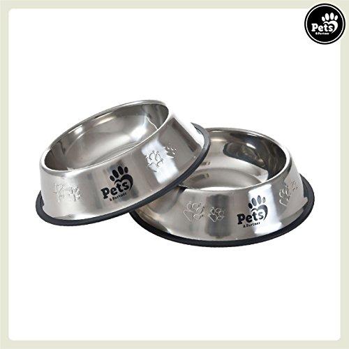 Pets&Partner® Hundenapf 2er Set aus Edelstahl für große Hunde  (Große Hundenäpfe)