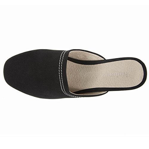 Damen-Pantoletten mit Absatz und sichtbarer N Isotoner Noir