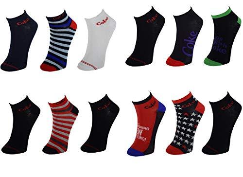 Coca-Cola 12 Paar Herren/Damen Sneakersocken, 5 tolle Farben und Design mit den coolen Werbesprüchen (43-46) (Herren Coca-cola)