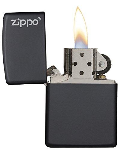 Zippo Sturmfeuerzeug matt schwarz mit Logo