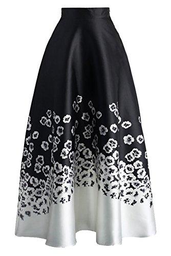 la-vogue-jupe-longue-midi-evase-plisse-floral-crayon-taille-haut-elegant-femme-noir-size2