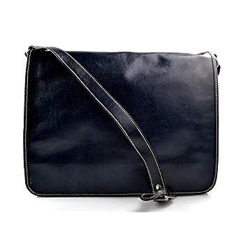 Leder herren aktentasche messenger ledertasche umhangetasche schultertasche tragetasche made in Italy damen ledertasche blau
