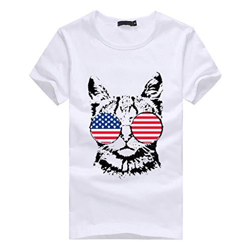 Bellelove Damen Einfache T-Shirt Sommer Kurzarm Rundhals Shirt Katze Druck Mode Unabhängigkeitstag Amerikanische Flagge Print Casual Frauen Tops - Weiß Gestreiften Schiere Bluse Top