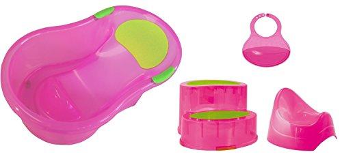 Bieco 79001002Baby Starter Set con bañera, orinal, babero y escalón, color rosa