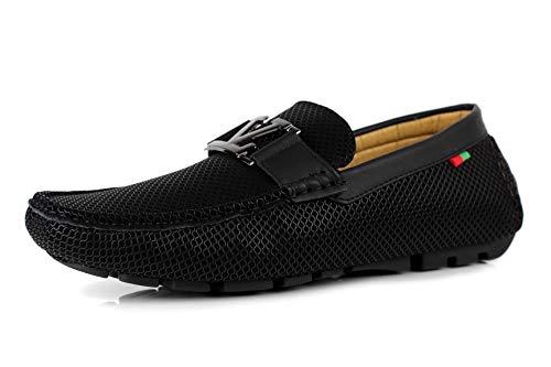 Jas da uomo da infilare mocassini scarpe firmate casual guida alla moda - nero, 43