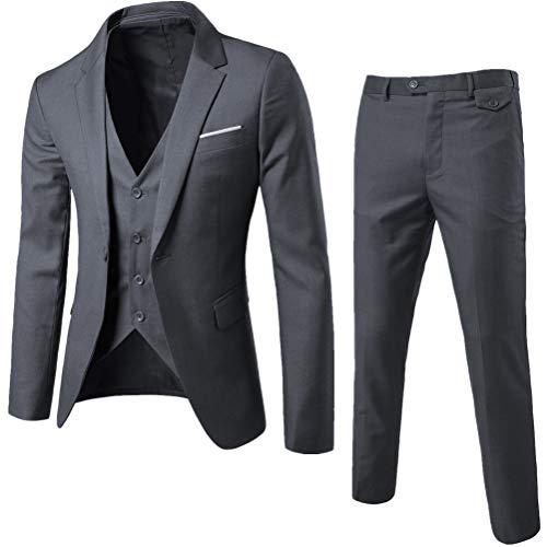 KJHSDNN Traje de Hombre Slim Blazer 3 Piezas Chaqueta+ Chaleco+ Pantalones Formal para Fiesta Boda Wedding...