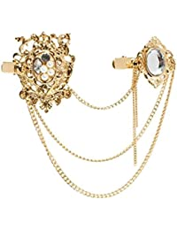 "Young & Forever ""Elite Collection"" Diwali Special Double Stone Hollow Carved Pearl Diamond Hair Brooches Hair Clip Head Gear For Women (Ha90104)"