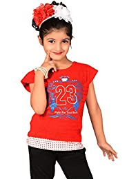 Sweet Angel Red color round neck top with 23 no print on chest for girls