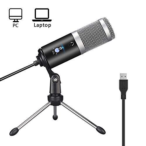 Microfono per PC, Microfono a condensatore USB professionale Home Plug & Play con supporto per microfono pieghevole regolabile, per podcast, registrazione, chat online come Facebook, Skype, YouTube