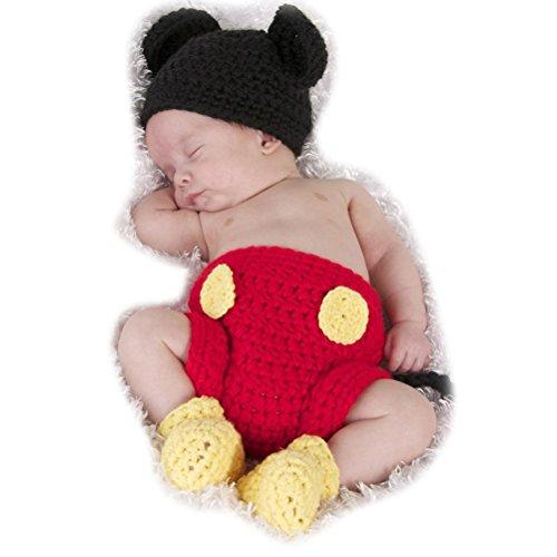 ARAUS-Baby Wollmütze Hose und Schuhe Outfits Mickey Maus Neugeborenes Unisex-Baby Handgemachte Häkelarbeit Strick Kappe für Kinder 0-3 Monate