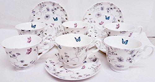 Secret Garden en porcelaine anglaise à thé café Lot de 6 tasses et 6 soucoupes Fleurs Papillons et abeilles décorée à la main au Royaume-Uni
