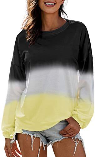 Chaos World Donna Colore Sfumato a Contrasto Felpe con Lunga Casual Pullover Hoodie Sweatshirt (Nero, XL)
