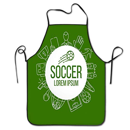 rwgfdgt Funny Personality Apron Soccer Football icon Set Soccer Background Round Paper Sheet Design Contains Such Icons as Stadium Field Ball More Chef Kitchen Aprons 20.4 * 28.3 inch