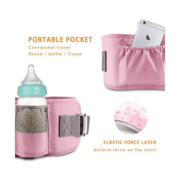 SONARIN 3 in 1 Multifunction Hipseat Baby Carrier,Front and Back,100% Cotton,Ergonomic,Easy Mom,Adapted to Your Child's Growing, 100% Guarantee and Free DELIVERY,Ideal Gift(Pink) SONARIN Applicable age and Weight:0-36 months of baby, the maximum load:36KG, and adjustable the waist size can be up to 47.2 inches (about 120 cm). Material:designers carefully selected soft and delicate Cotton fabric. Resistant to wash, do not fade, ensure the comfort and breathability, Inner pad: EPP Foam,high strength,safe and no deformation,to the baby comfortable and safe experience. Description:Scientific 35°, the baby naturally fits the mother's body, safe and comfortable.Patented design of the auxiliary spine micro-C structure and leg opening design, natural M-type sitting.H-type bridge belt, effectively fixed shoulder strap position, to prevent shoulder straps fall, large buckle, intimate design, make your baby more secure. 5