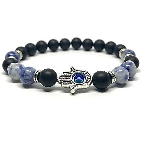 GOOD.designs Chakra Perlen-Armband aus echten Onyx-Natursteinen, Hand der Fatima Hamsa-Anhänger (Onyx / Silber)