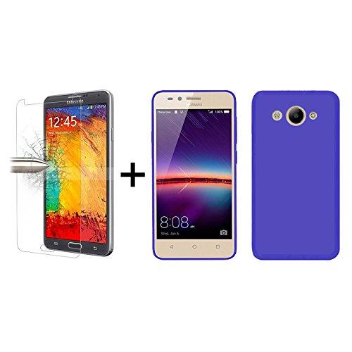 TBOC® Pack: Blau Gel TPU Hülle + Hartglas Schutzfolie für Huawei Y3 (2017) (5.0 Zoll) - Ultradünn Flexibel Silikonhülle. Panzerglas Displayschutz in Kristallklar in Premium Qualität.