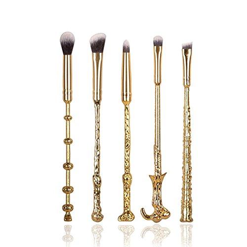 5pcs Pinceaux Brosses Maquillage cosmétique magic Harry Potter Collection Cadeau (Or)