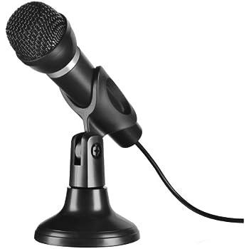 Speedlink Capo Desktop und Hand Mikrofon (perfekt für Sprach- und Gesangsaufnahmen, inklusive Stativ, rauschunterdrückend, 3,5mm Klinke)