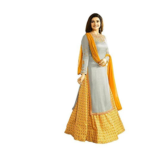 Salwar Soul Women Japan Crepe Wedding Emboirdery Semi-Stitched Salwar Suit (Salwar_ERTY11044_Gray)