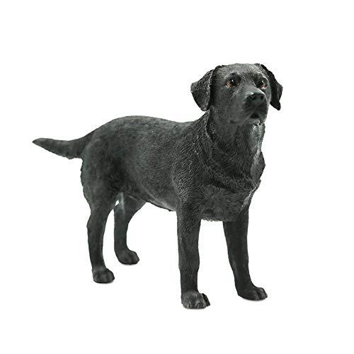Statuen Dekoartikel Skulpturen Figuren Schwarzer Labrador Retriever-Hundesimulation-Tiermodell-Auto Fertigt Dekorations-Sammlung Schwarze Stehende Position