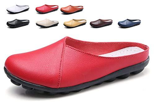 Hishoes Mokassins für Damen Casual Bootsschuhe Leder Loafers Fahren Flache Schuhe Pantoletten Bequem Damen Halbschuhe Slipper schwarz Weiss - Damen Weiß Loafers Schuhe