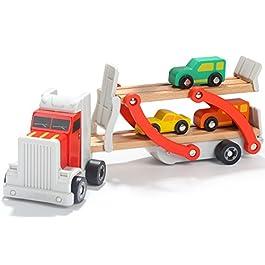 Toys of Wood Oxford Carrier portacontainer in Legno – Camion Transporter con rimorchio a Ponte e 4 Auto in Legno – Legno per Bambini