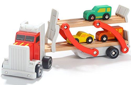 Toys of Wood Oxford Camión de Madera portacoches Juguete - Camión transportador con Remolque de Dos Pisos y 4 Coches de Madera - Juguetes de Madera del Coche para niños