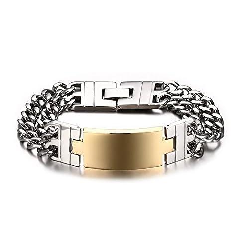 Acier inoxydable Double chaîne à maillons Doré Bracelet d'identification pour hommes (gravure), audacieux et de gros