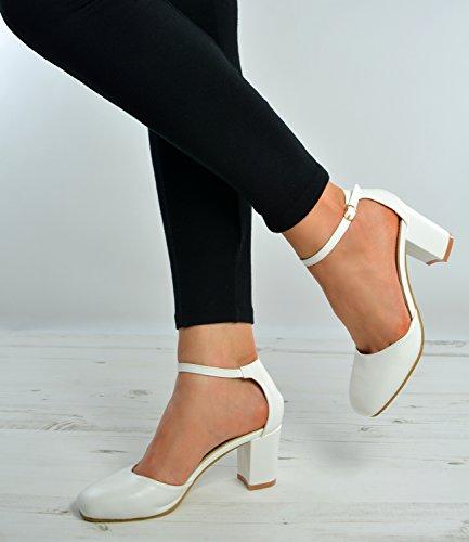 Cucu Fashion ,  Damen Durchgängies Plateau Sandalen mit Keilabsatz Weiß