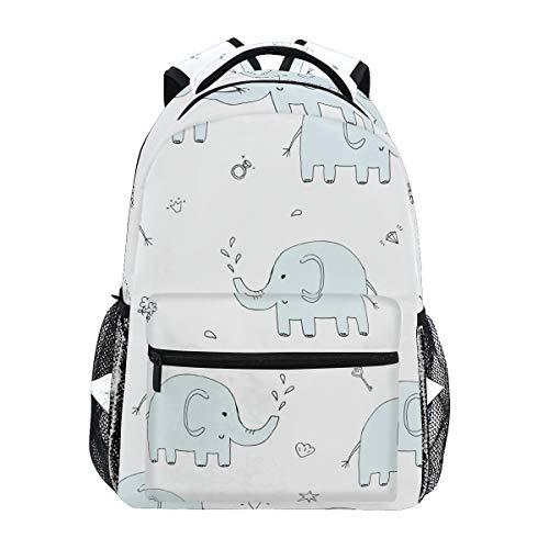 Mochila Escolar de Elefante Azul Divertido para Mochila de Viaje para niños niñas niños Bookbag