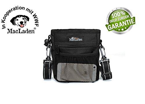 Begrenzte Stückzahl - Premium MacLaden Futtertasche für Hunde | Schwarz | Leckerlibeutel | Futterbeutel für Hundetraining | Leckerlitasche | Hundekotbeutel-Fach | Macht mit einem Kauf die Welt ein Stückchen besser!