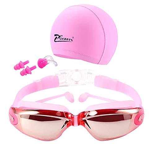 Honestyi Schwimmbrille Brille UV Schutz Nicht Fogging Badekappe Nasenklammer Männer & Frauen ZHENYA HD Überzug wasserdicht und beschlagfrei schwimmende dreiteilig