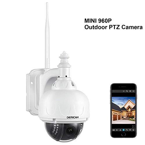 Dericam WiFi Outdoor Security Camera, PTZ Camera, 4x Optical Zoom, Auto-focus High Quality S-video