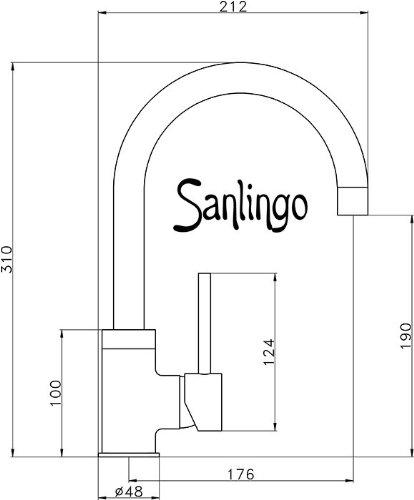 Sanlingo – Design-Spültischarmatur mit Schwenkauslauf, Schwarz - 2