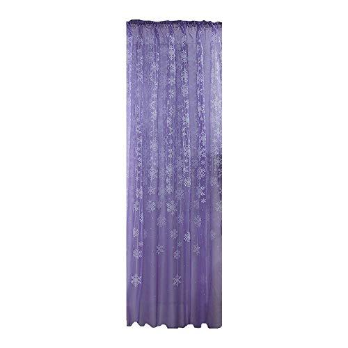 Xmiral Türvorhang Tüll Gardine Schneeflocken Gedruckte Scheibengardine mit Stangenloch Lichtdurchlässig(Violett,200x80cm)