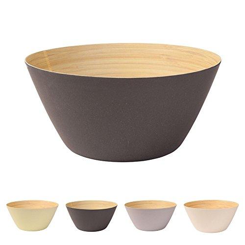 Premium bambou bol noir anthracite rond 25,5 cm de kaufdichgruen | Bambou vaisselle bol de céréales fruits saladier en bois Deco bol service bol camping vaisselle