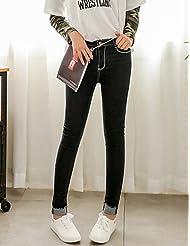 PU&PU Femme simple Taille Haute strenchy Jeans Pantalon,Slim Couleur Pleine