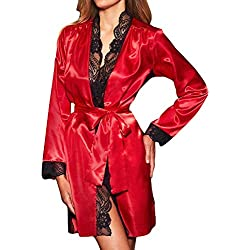 Wolfleague Lingerie Sexy Erotique Femme Coquine Femmes Sexy Longue Kimono De Soie Robe De Robe Babydoll Dentelle Lingerie Robe De Bain à Manches Longues Pas Cher Underwear S~XXL
