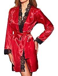 Frauen Sexy Lange Seide Kimono Morgenmantel Babydoll Dessous Bath Robe