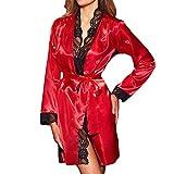 BHYDRY Donne Sexy Lungo Kimono Seta Dressing Abito Babydoll Lingerie Pizzo Biancheria da Bagno(Small,Rosso)