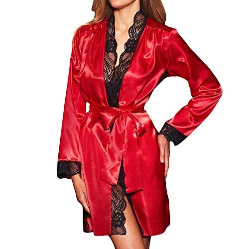 Frauen Sexy Lange Seide Kimono Morgenmantel Babydoll Dessous Bath Robe rot ()