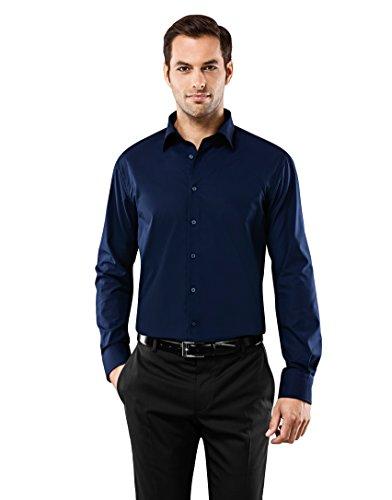 Vincenzo Boretti Herren-Hemd bügelfrei 100% Baumwolle Regular-fit New-Kent Kragen Uni-Farben - Männer lang-arm Hemden für Anzug mit Krawatte Business Hochzeit Freizeit dunkelblau 39/40