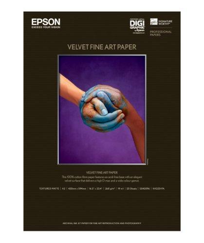 Epson C13S042096 Velvet Fine Art Papier Inkjet 260 g / m2 A2, 25 Blatt Pack - 1 Fine-art-papier