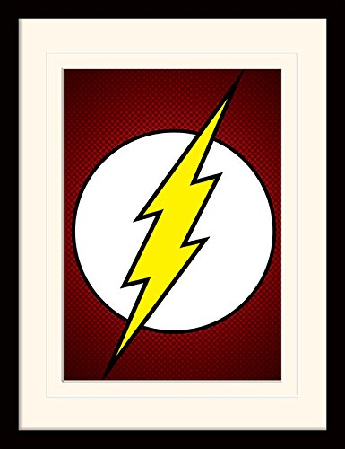 Gsm-flash (Pyramid International MP11206P-PL DC Comics (The Flash Symbol) montiert und gerahmt, mounted 250 gsm Paperwrap MDF, mehrfarbig, 44 x 33 x 4 cm)
