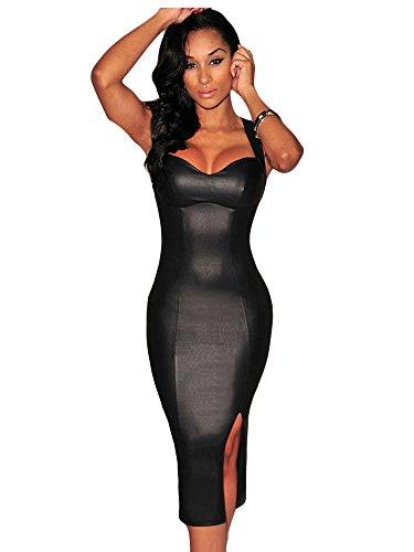 Negro Funda de piel sintética Look Cut Out Back Bodycon vestido Club Wear tamaño M UK 12UE 40