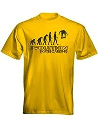 Velocitee Kids T-Shirt Evolution Of Man Skateboard