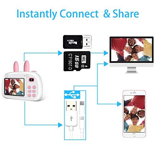 2NLF Camara para Niños Cámaras Digital de Video para niños Cámara Digital 2.4Pulgadas LCD 8MP 1080P HD Juguetes para Niña de 3- 10 años con Tarjeta de 16GB SD