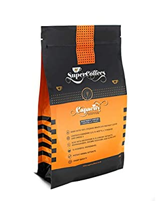 """Capacity Coffeeâ""""¢ Nootropic, Brain Boosting Coffee by SuperCoffeesâ""""¢  Enhance Cognitive Health, Focus & Mental Performance   12 Natural Infused Ingredients, Instant Coffee from SUPERCOFFEES"""